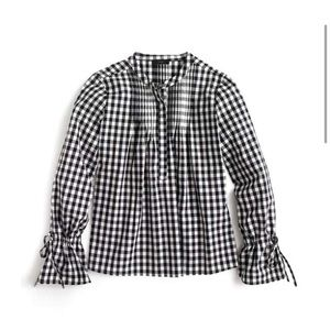 NWT XS J Crew Pin-tucked Gingham tie sleeve shirt